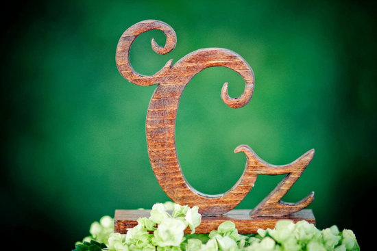 custom wood monogram wedding cake topper