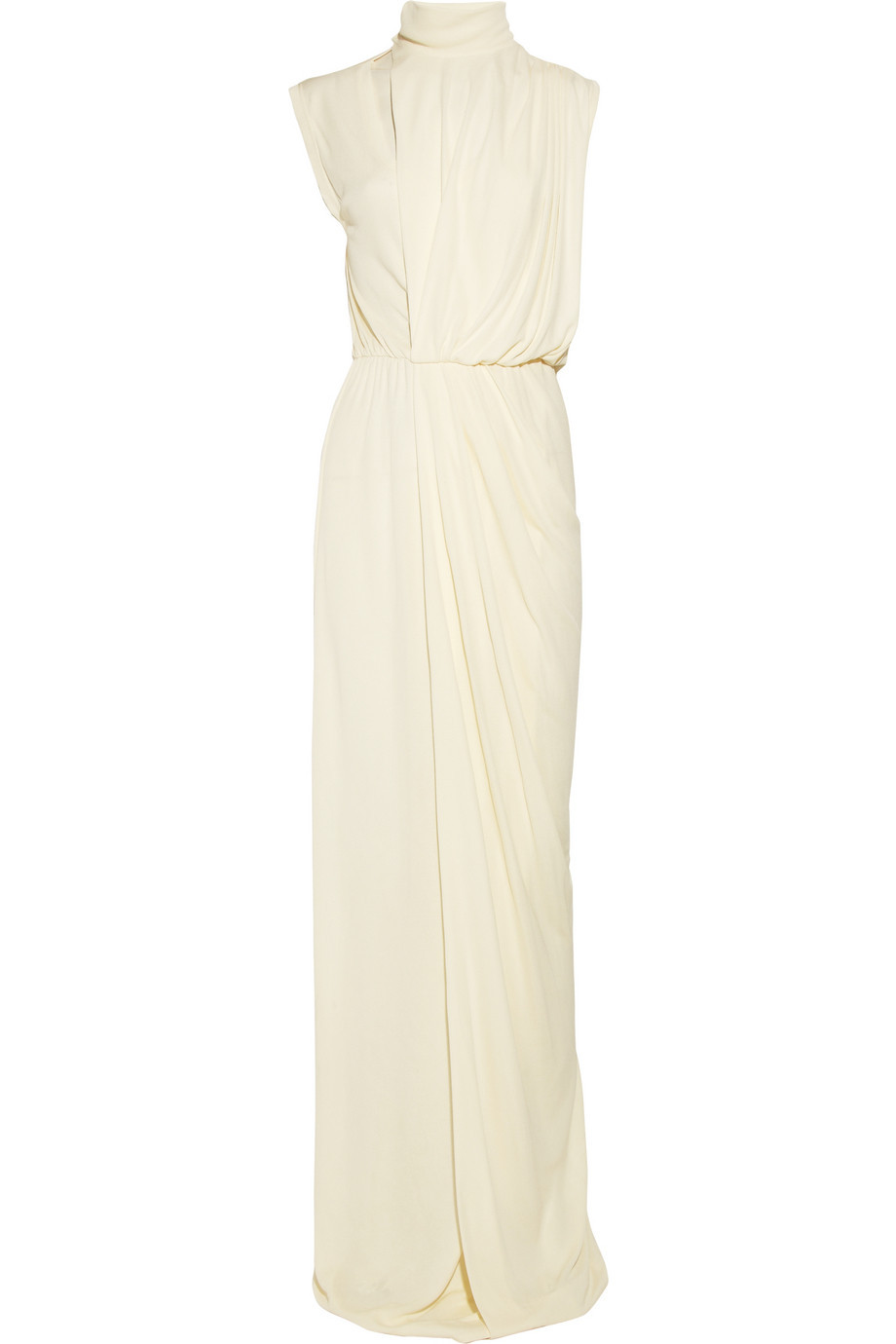draped crepe wedding dress high neck