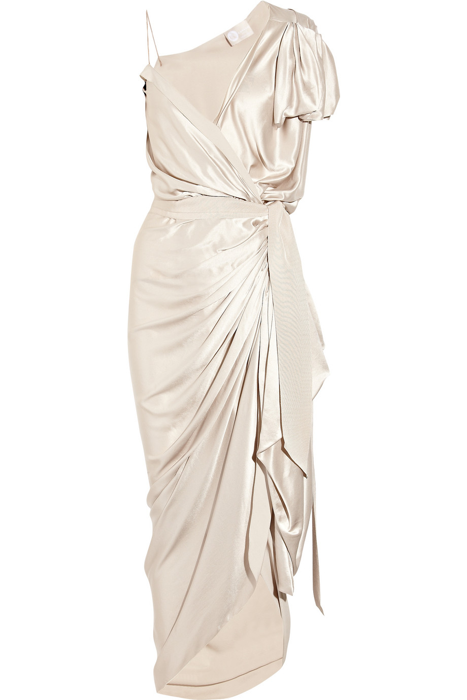 Asymmetric silk satin wrap wedding dress or lwd for Satin silk wedding dresses