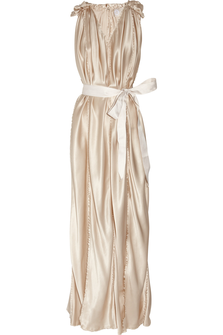 Belted silk satin wedding dress champagne bridal gowns for Satin silk wedding dresses