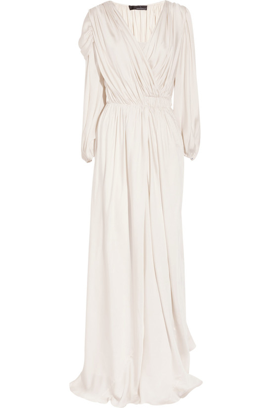 draped silk satin wedding dress with sleeves