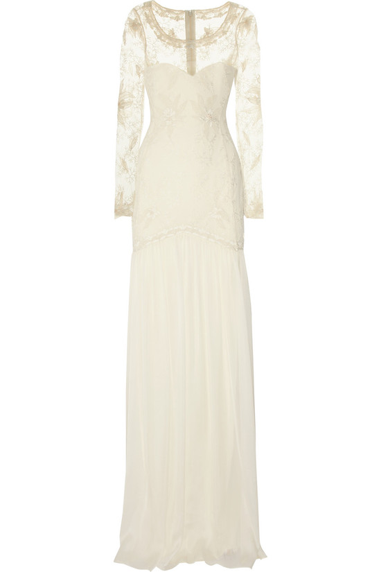 temperley london wedding dress cream with sheer sleeves