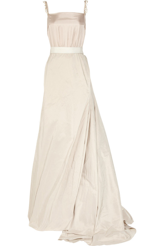 creamy Lanvin wedding dress square neck silk taffeta