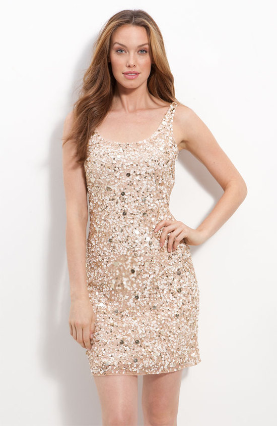 sparkly sequin LWD for wedding reception champagne sheath