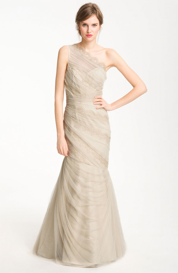 Deep Champagne Wedding Dress Mermaid With Lace Monique Lhuillier