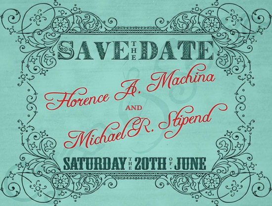 aqua wedding save the date printable