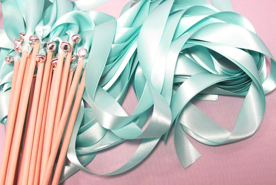 aqua ribbons for memorable wedding sendoff
