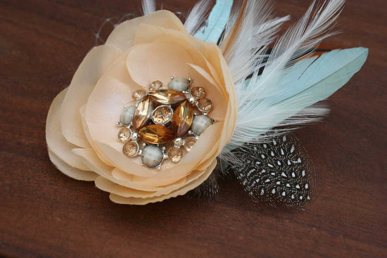 feather bridal fascinator aqua feathers vintage brooches