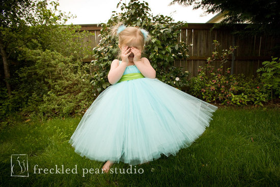 adorable flower girl dress aqua tulle