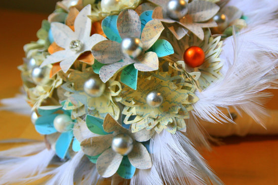 paper feather bridal bouquet vintage inspired using maps