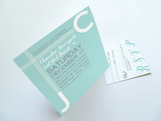 seafoam gray white wedding invitations modern
