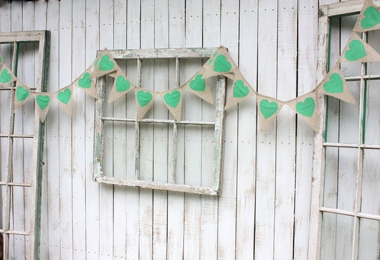 rustic wedding garland with aqua hearts