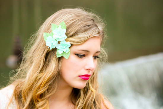 3 bloom wedding hair accessory teal aqua