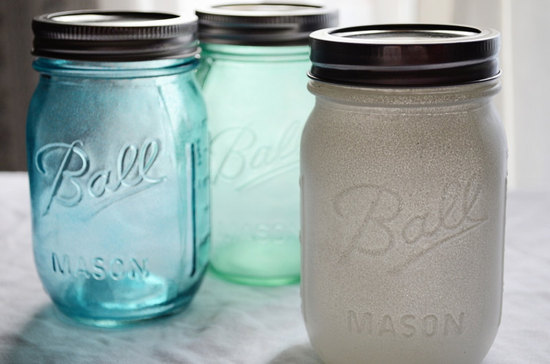 painted mason jars for vintage weddings aqua silver