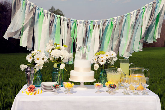 handmade wedding ideas aqua white gray wedding garland