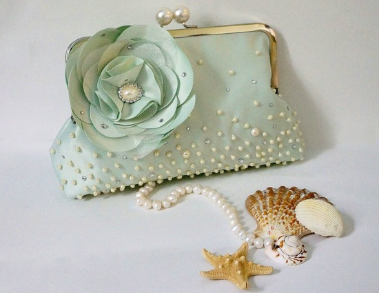beach wedding accessories seafoam bridal clutch