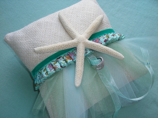 ring bearer pillow for beach wedding aqua ivory