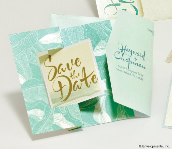 nature inspired wedding save the dates aqua gold