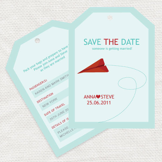 photo of aqua red white wedding save the date Etsy weddings