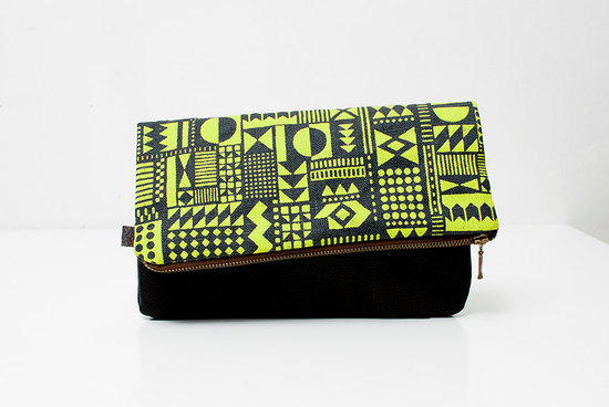 neon yellow black wedding clutch