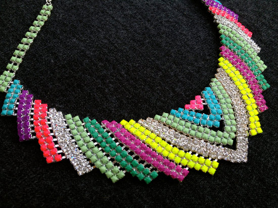 neon chevron wedding necklace