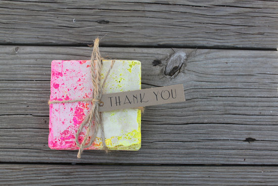 neon ombre wedding guest favors pink yellow coasters