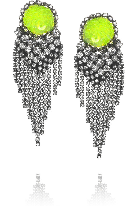 bright bridal earrings neon green
