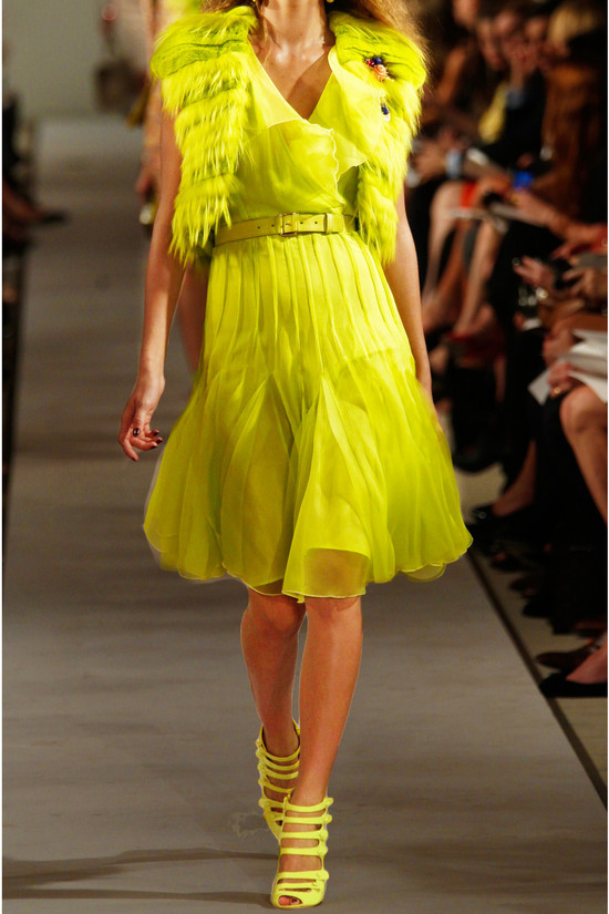 bright neon yellow bridesmaid dress inspiration oscar de la renta