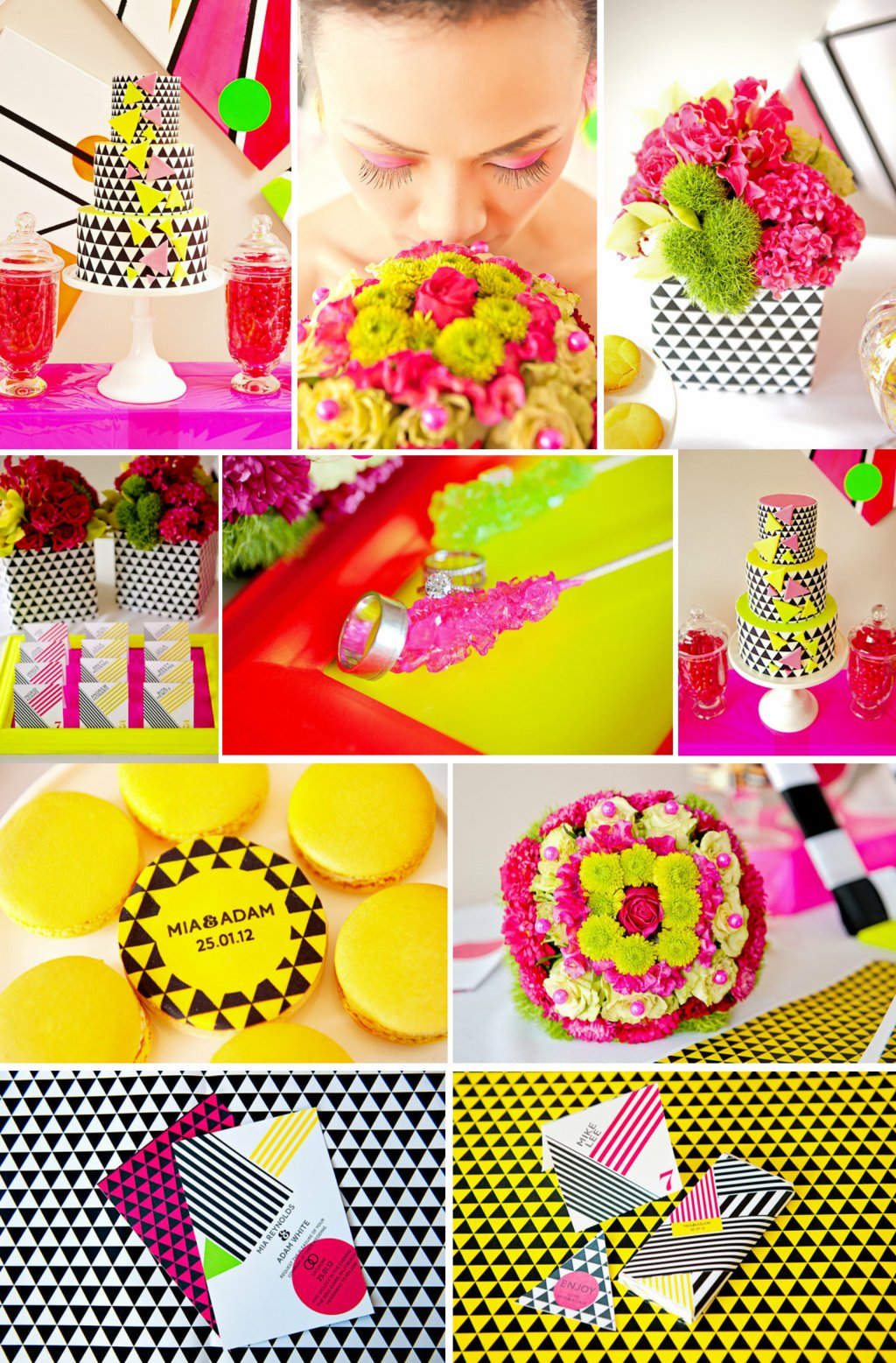 neon wedding inspiration modern patterns