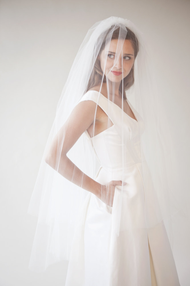 pleated taffeta v neck wedding dress with tulle veil