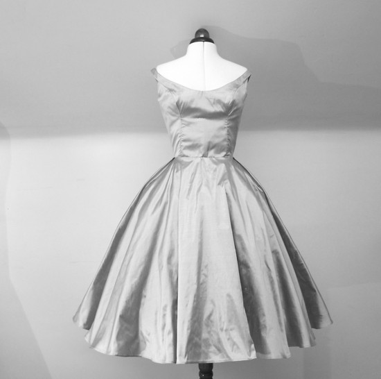 silver taffeta wedding dress or LWD tea length