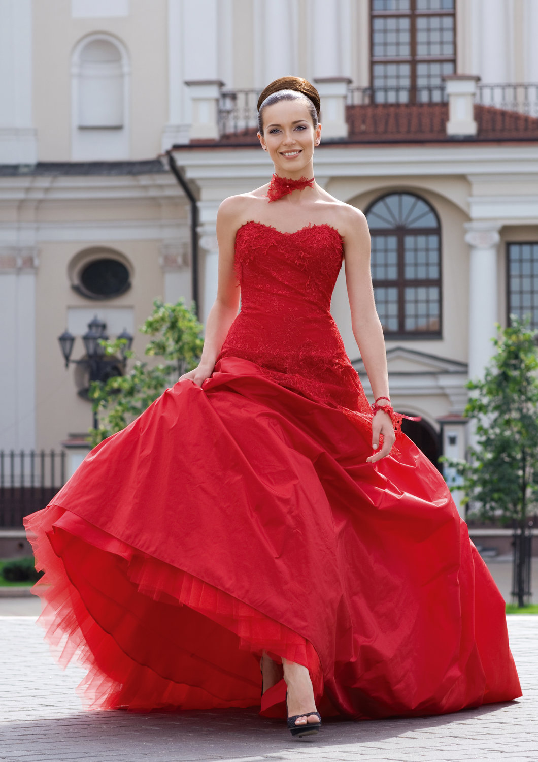 Red Wedding Dress Taffeta Tulle Onewed Com