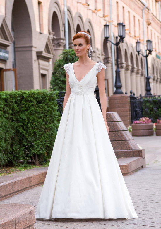 deep v wedding dress with sheer cap sleeves