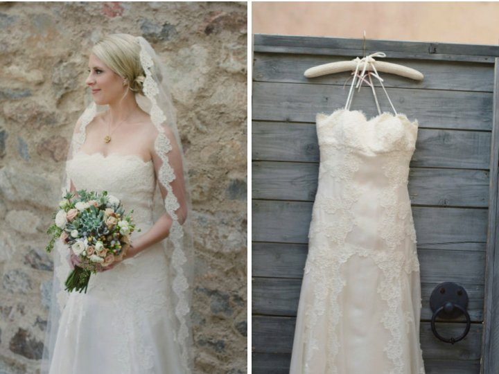 brides draped in lace romantic outdoor wedding