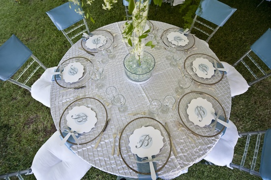 elegant wedding reception tablescape blue silver ivory