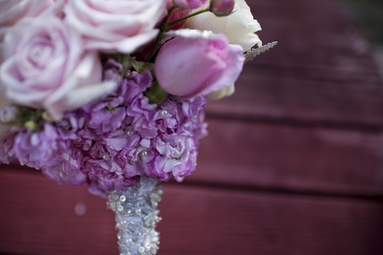 pretty pink bridal bouquet with beaded wrap handle