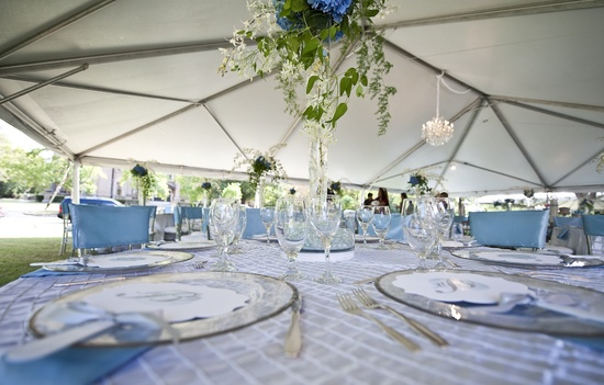 elegant fall wedding outdoor tented reception sky blue ivory green