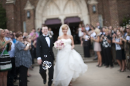 artistic wedding photography ceremony exit with bubbles
