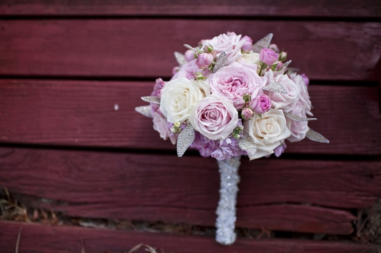 romantic bridal bouquet blush pink ivory roses with rhinestone touches