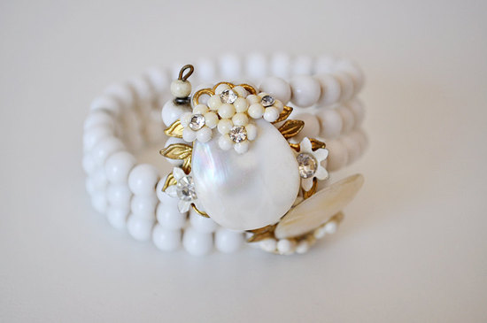 white antique bridal bracelet