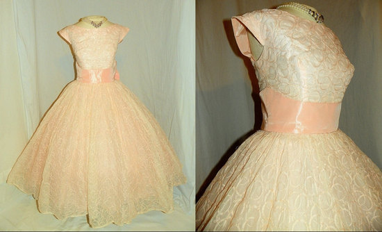 photo of 1950's blush pink wedding dress