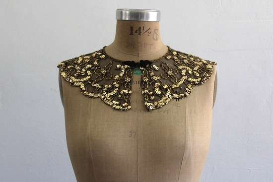 gold sequin bridal collar
