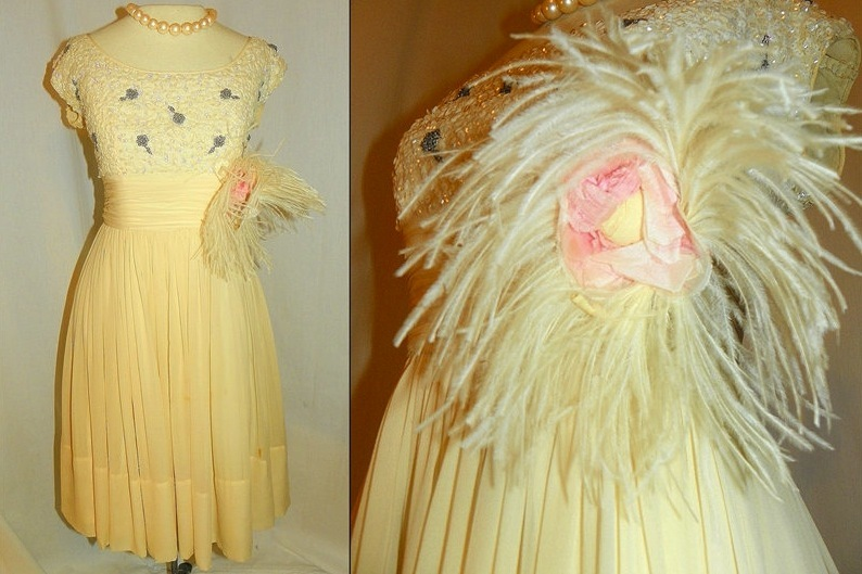 Antique-wedding-reception-dress-feathers-beading.full