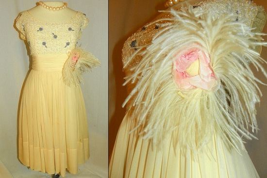 antique wedding reception dress feathers beading