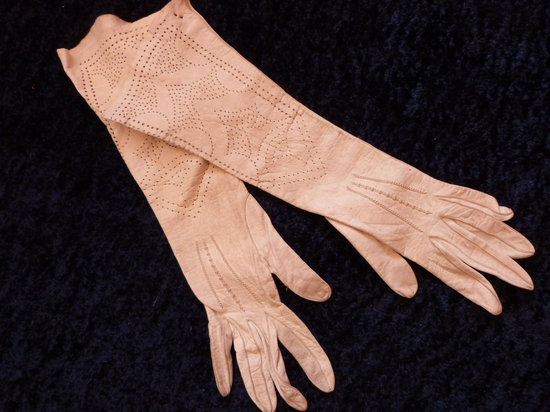 photo of Blush pink wedding gloves