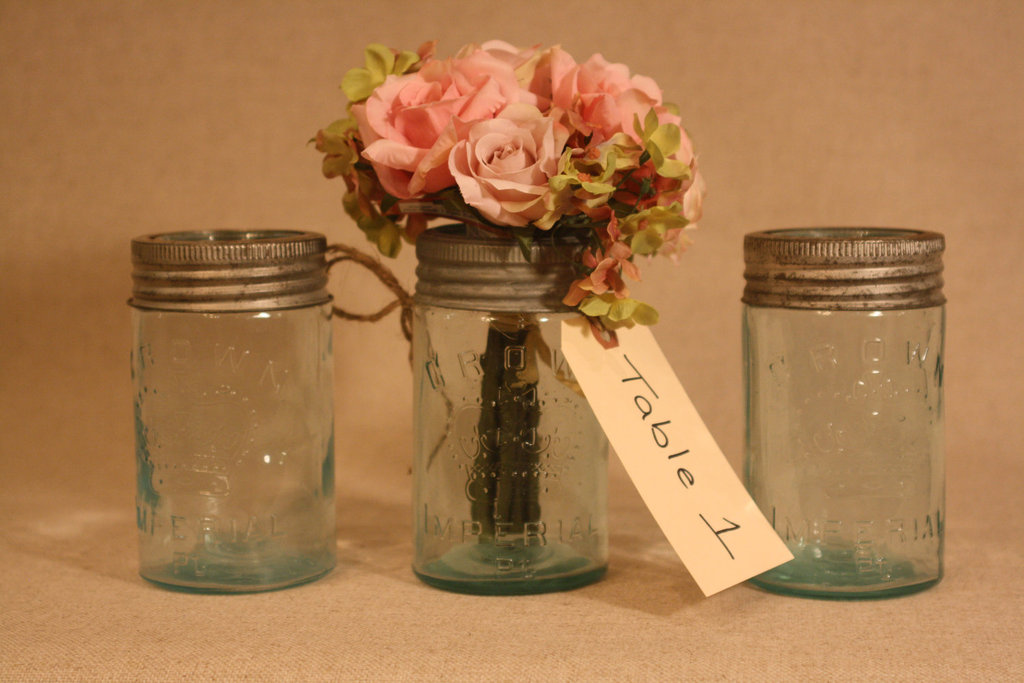 Vintage mason jars for wedding reception centerpieces for Mason jar wedding centerpiece ideas