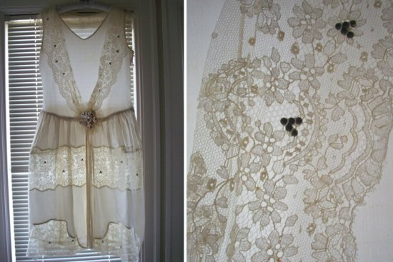 antique wedding dress LWD lace illusion