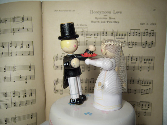 antique wedding cake topper vintage music box bride and groom