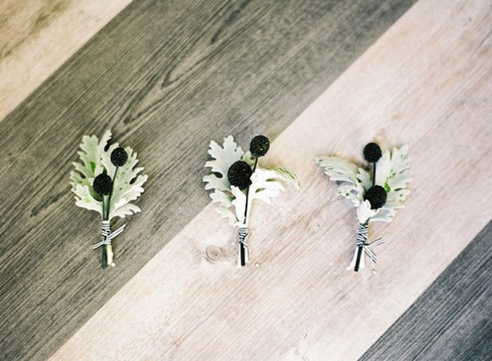 elegant wedding boutonnieres berries velvet leaves