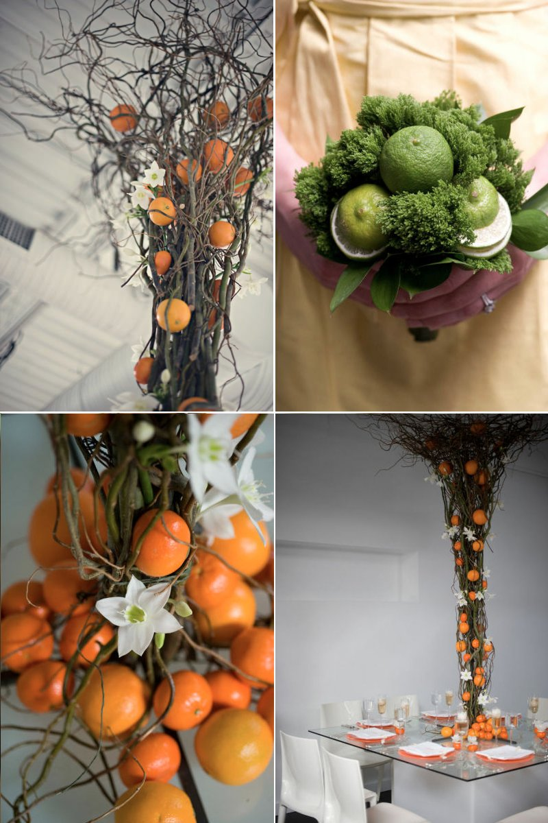 citrus wedding centerpieces orange lime green
